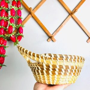 Vintage Small Coiled Wicker Basket